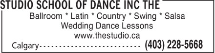 The Studio School Of Dance Inc (403-228-5668) - Annonce illustrée - Ballroom * Latin * Country * Swing * Salsa Wedding Dance Lessons www.thestudio.ca