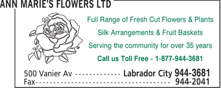 Ann Marie's Flowers Ltd (709-944-3681) - Annonce illustrée - Full Range of Fresh Cut Flowers & Plants Silk Arrangements & Fruit Baskets Serving the community for over 35 years Call us Toll Free - 1-877-944-3681