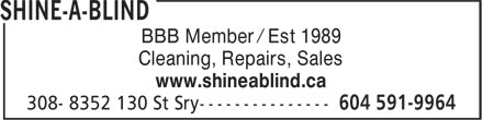 Shine-A-Blind (604-591-9964) - Display Ad