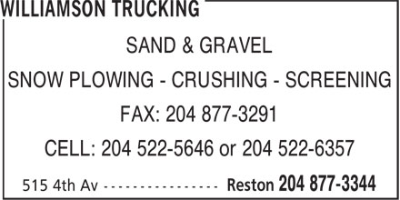Williamson Trucking (204-877-3344) - Annonce illustr&eacute;e
