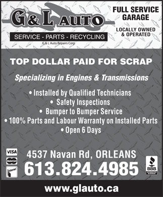 G And L Auto (613-824-4985) - Display Ad