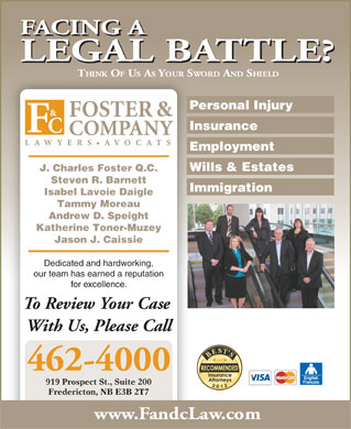 Foster &amp; Company Lawyers Avocats (1-877-719-8443) - Display Ad