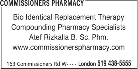 Commissioners Pharmacy (519-438-5555) - Display Ad