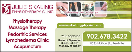 Julie Skaling Physiotherapy Clinic Inc (902-678-3422) - Display Ad - JULIE SKALING PHYSIOTHERAPY CLINIC www.skalingphysio.com