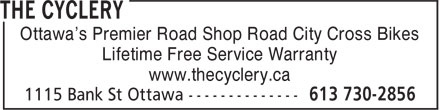 The Cyclery (613-730-2856) - Annonce illustrée - Ottawa's Premier Road Shop Road City Cross Bikes Lifetime Free Service Warranty www.thecyclery.ca