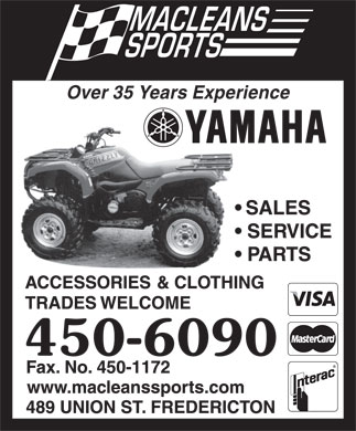Maclean Sports Ltd (506-450-6090) - Display Ad - Over 35 Years Experience Over 35 Years Experience