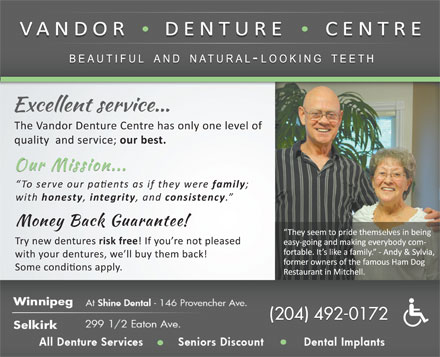 Vandor Denture Centre (1-888-498-2752) - Display Ad - (204) 492-0172