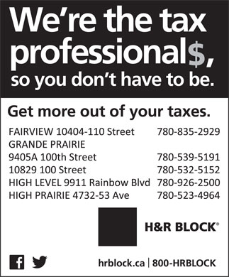 H&amp;R Block (780-539-5191) - Annonce illustr&eacute;e