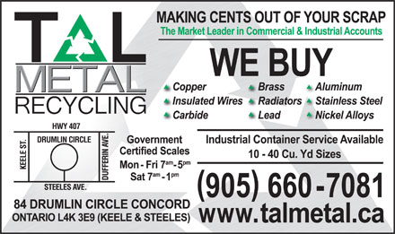 Tal Metal Recycling Inc (289-807-0089) - Display Ad