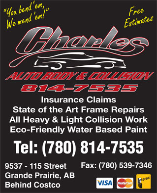 Charles Autobody Collision Ltd (780-814-7535) - Display Ad