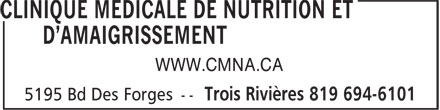 Clinique Médicale deNutritionetD'Amaigrissement (819-694-6101) - Display Ad - WWW.CMNA.CA