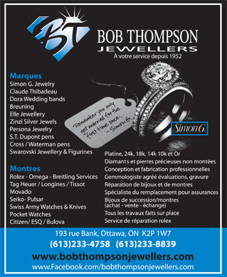 Bob Thompson Jewellers (613-233-4758) - Display Ad - BOB THOMPSON JEWELLERS À votre service depuis 1952