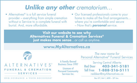 Alternatives Funeral & Cremation Services (403-406-0069) - Display Ad