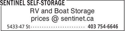 Sentinel Self-Storage (403-754-6646) - Display Ad - RV and Boat Storage prices @ sentinet.ca