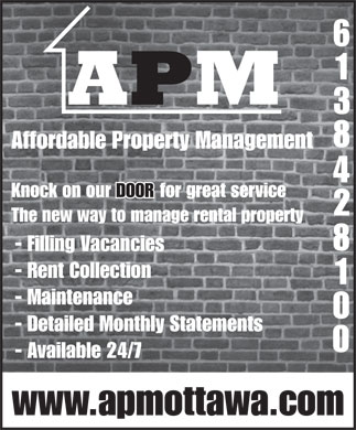 Affordable Property Management (613-842-8100) - Annonce illustrée - Affordable Property Management Knock on our DOOR for great service The new way to manage rental property - Filling Vacancies - Rent Collection - Maintenance - Detailed Monthly Statements - Available 24/7 www.apmottawa.com