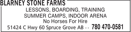 Blarney Stone Farms (780-470-0581) - Display Ad - LESSONS, BOARDING, TRAINING SUMMER CAMPS, INDOOR ARENA No Horses For Hire