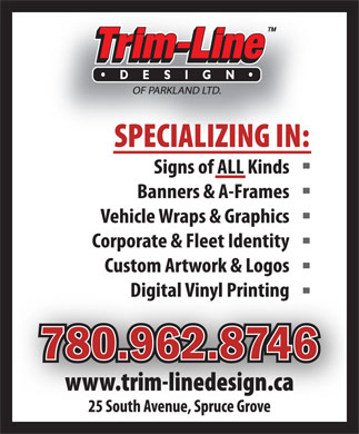 Trim-Line Design of Parkland Ltd (780-962-8746) - Display Ad