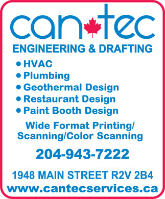 Can-Tec Design Drafting Service (204-943-7222) - Annonce illustrée