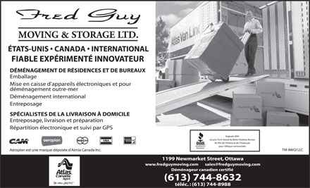 Fred Guy Moving & Storage Ltd (613-744-8632) - Annonce illustrée