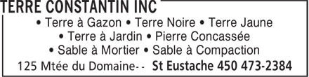 Terre Constantin Inc (450-473-2384) - Display Ad