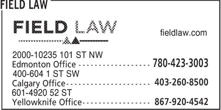 Field Law (780-423-3003) - Annonce illustrée - fieldlaw.com fieldlaw.com