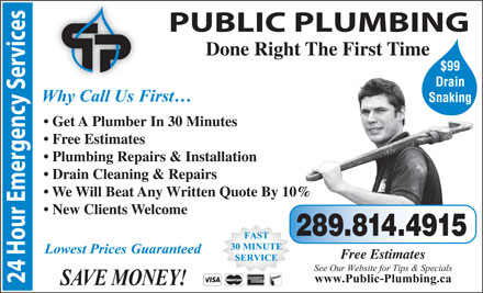 Quick Plumbing (416-752-5959) - Display Ad - Done Right The First Time $99 Drain Snaking Get A Plumber In 30 Minutes Free Estimates Plumbing Repairs & Installation Drain Cleaning & Repairs We Will Beat Any Written Quote By 10% New Clients Welcome 289.814.4915 Free Estimates