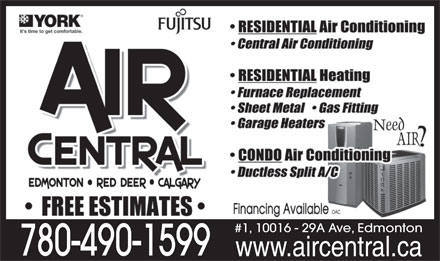 Air Central (780-490-1599) - Annonce illustrée - #1, 10016 - 29A Ave, Edmonton 780-490-1599 www.aircentral.ca