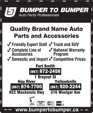 Bumper To Bumper (867-920-2244) - Display Ad
