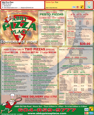 Abby Pizza Place Ltd (604-852-5340) - Menu