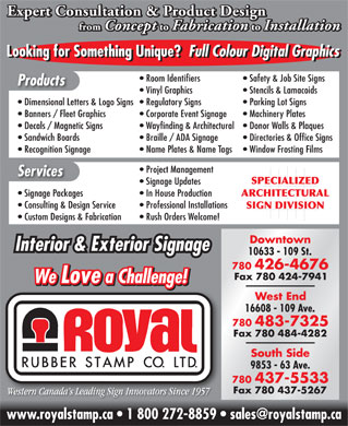 Royal Rubber Stamp Co Ltd (780-426-4676) - Display Ad