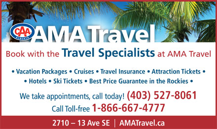AMA Travel (403-527-8061) - Display Ad