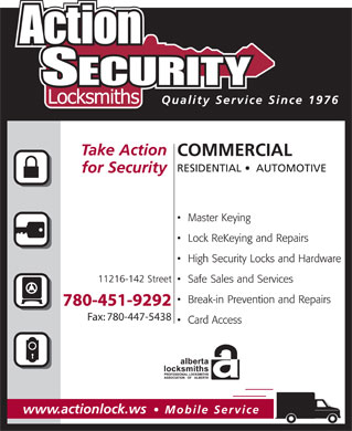 Action Security Locksmiths (780-392-9814) - Display Ad - 780-451-9292 Fax: 780-447-5438