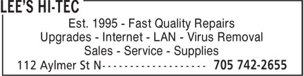 Lee's Hi-Tec (705-742-2655) - Display Ad - Est. 1995 - Fast Quality Repairs Upgrades - Internet - LAN - Virus Removal Sales - Service - Supplies