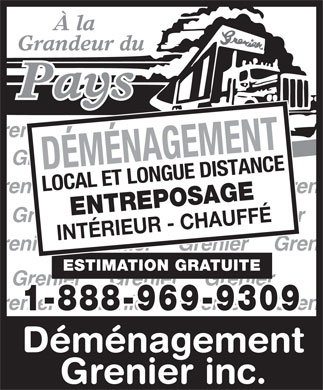 Déménagement Grenier Inc (1-888-969-9309) - Display Ad