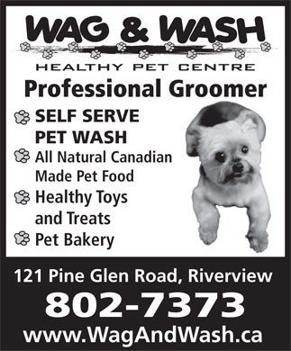 Wag N' Wash Inc (506-388-9274) - Annonce illustrée - Professional Groomer SELF SERVE PET WASH All Natural Canadian Made Pet Food Healthy Toys and Treats Pet Bakery 802-7373 www.WagAndWash.ca 121 Pine Glen Road, Riverview