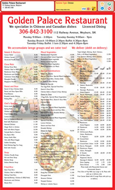 Golden Palace Family Restaurant (306-842-3100) - Menu