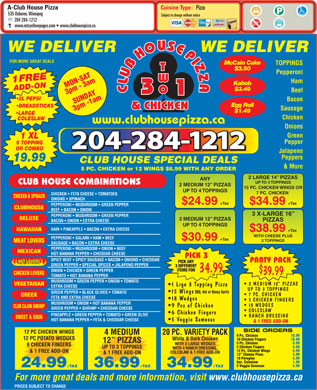 Club House Pizza (204-284-1212) - Menu