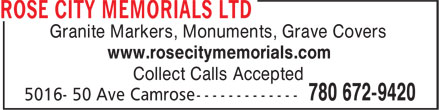 Rose City Memorials Ltd (780-672-9420) - Annonce illustr&eacute;e - Granite Markers, Monuments, Grave Covers www.rosecitymemorials.com Collect Calls Accepted