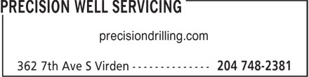 Precision Well Servicing (204-748-2381) - Display Ad - precisiondrilling.com precisiondrilling.com precisiondrilling.com precisiondrilling.com
