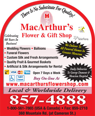 Macarthur S Flower Shop 360 Mountain Rd Moncton Nb