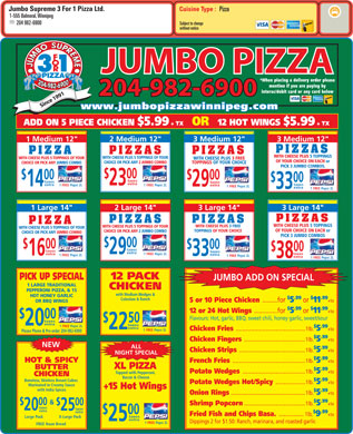 Jumbo Supreme 3 For 1 Pizza Ltd (204-982-6900) - Annonce illustrée