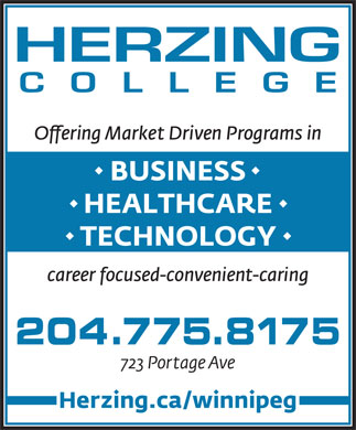 Herzing College (204-515-1537) - Annonce illustrée - BUSINESS HEALTHCARE TECHNOLOGY career focused-convenient-caring