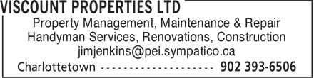 Viscount Properties Ltd (902-393-6506) - Annonce illustrée - Handyman Services, Renovations, Construction Property Management, Maintenance & Repair