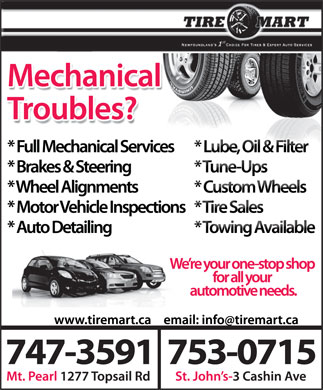 Tire Mart (709-700-0999) - Display Ad - 747-3591753-0715