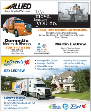 Domestic Moving & Storage/Allied Van Lines Canada Agent (709-747-5188) - Annonce illustrée