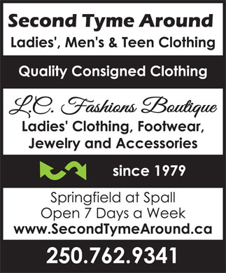 Second Tyme Around (250-762-9341) - Display Ad