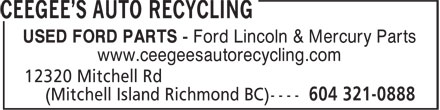 Ceegee's Auto Recycling (604-321-0888) - Display Ad