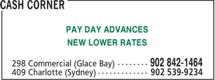 Cash Corner (902-842-1464) - Annonce illustrée - PAY DAY ADVANCES NEW LOWER RATES