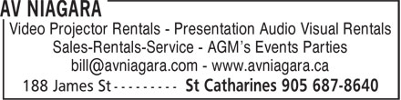 Spectra Audio-Visual Services (905-687-8640) - Display Ad - Video Projector Rentals - Presentation Audio Visual Rentals Sales-Rentals-Service - AGM's Events Parties Video Projector Rentals - Presentation Audio Visual Rentals Sales-Rentals-Service - AGM's Events Parties