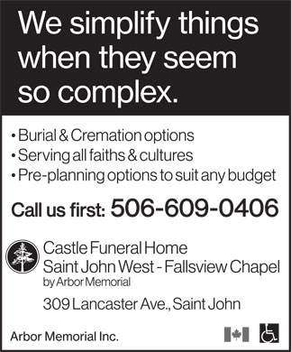 Castle Funeral Home (506-609-0406) - Display Ad